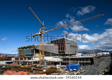 Construction site of modern building - stock photo