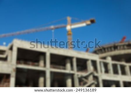 Construction Site Of Modern Building Blurred Background - stock photo