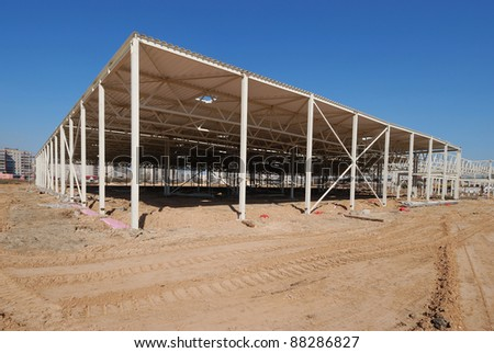 Construction site of shopping center - stock photo