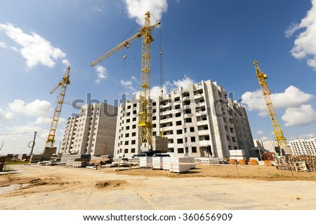 construction site on which to build high-rise buildings - stock photo