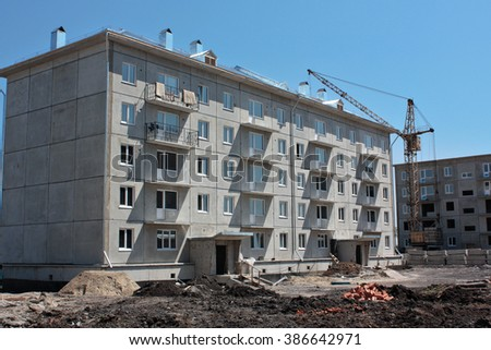 Construction site prefabricated house - stock photo