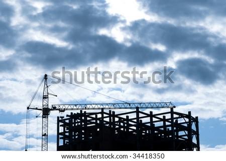 Construction Site Silhouette - stock photo