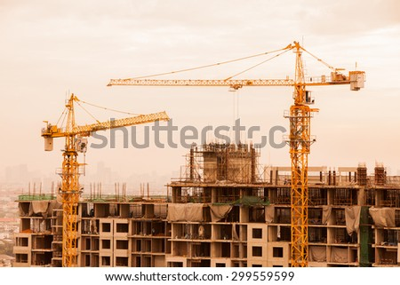 Construction Site silhouettes. - stock photo