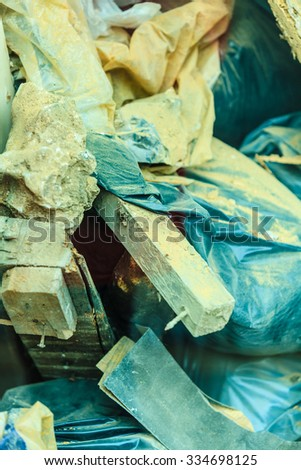 Construction site. Stack of old grunge destroyed damaged bricks and material from demolished house . Industry. - stock photo