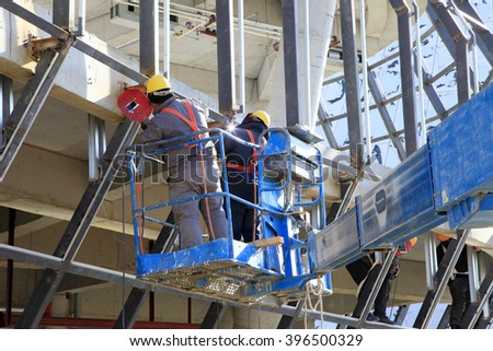 Construction site, the welding workers at work