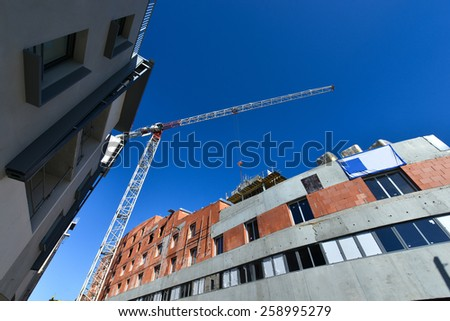 Construction site -Tower Crane - stock photo