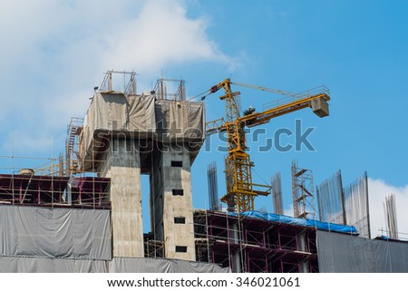 construction site with big crane