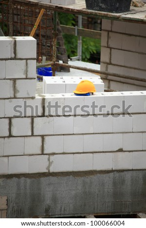 Construction site with concrete and steel outdoor