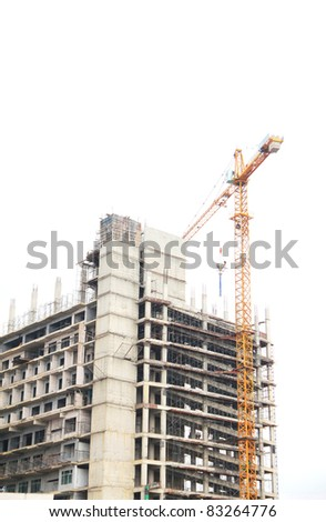Construction site with crane - stock photo