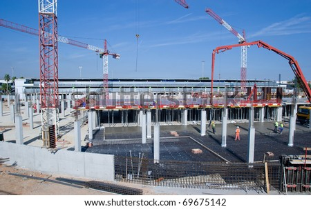Construction Site with Cranes - stock photo
