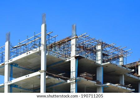 Construction site with enforced concrete ,condominium - stock photo