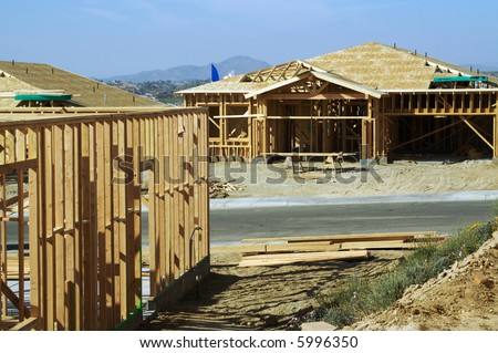 Construction site with new homes. - stock photo