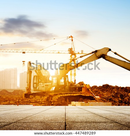 Construction sites, working in the excavator. - stock photo