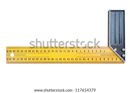 Construction square triangle on a white background. Closeup. - stock photo