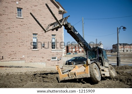 construction stuck in mud - stock photo