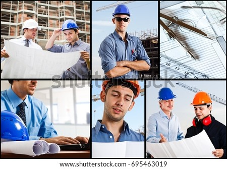 Construction themed images composition