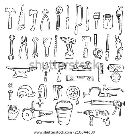 Construction tool collection. Doodles. - stock photo