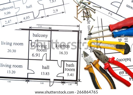 Construction tools and architecture plan