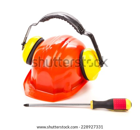 Construction tools close up. Isolated on a white background.