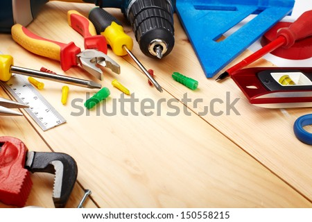Construction tools. Home and house renovation concept background. - stock photo