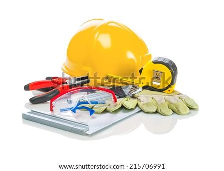 construction tools on white background - stock photo