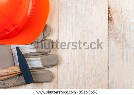 Construction tools on wooden board. Concept of building and repairing. - stock photo