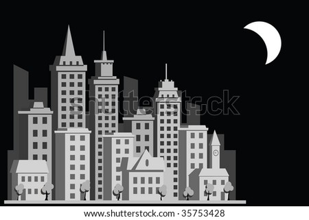 construction town night city - stock photo