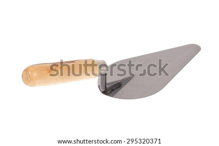 construction trowel with wooden handle on white background - stock photo