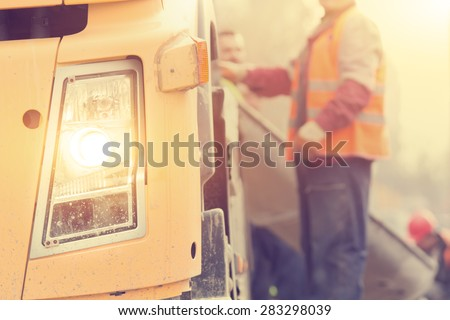 Construction truck. - stock photo