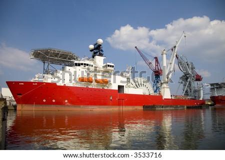 Construction vessel 2 - stock photo