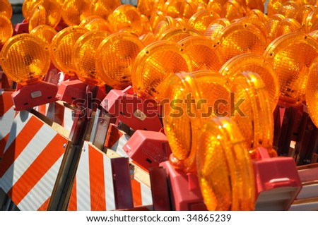 construction warning barriers - stock photo