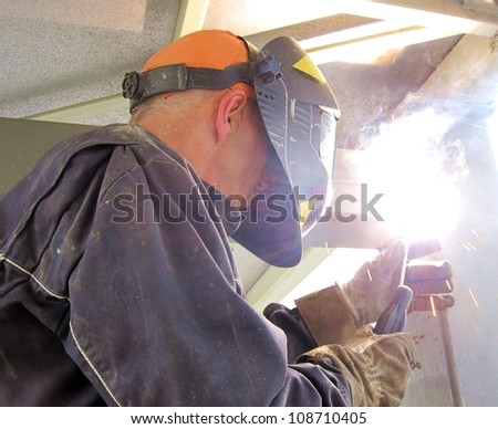 Construction welding - stock photo