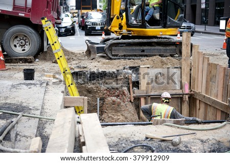 Construction Work on Road - stock photo