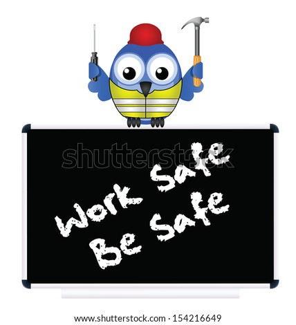 Construction work safe be safe message isolated on white background - stock photo