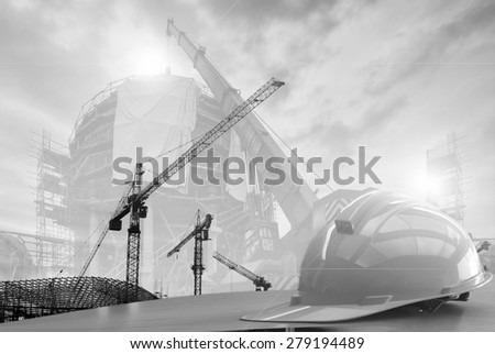 construction work safety blurred and soft focus background  black and white collection. - stock photo