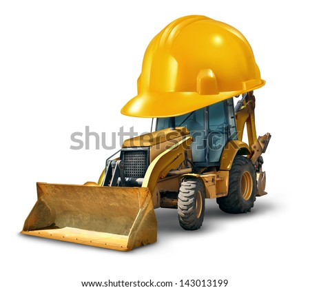 Construction work safety concept with a Bulldozer truck as a yellow generic excavator wearing a giant hard hat to build roads homes and buildings with heavy dangerous machinery on a white background. - stock photo