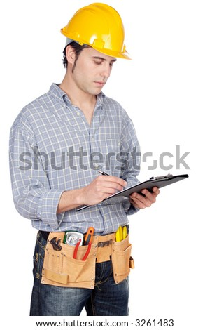 Construction worker a over white back ground