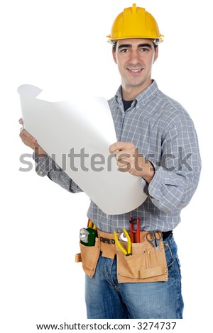 Construction worker a over white background
