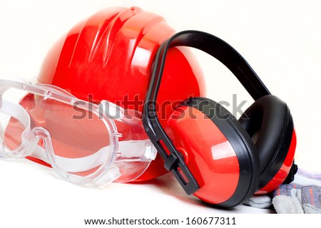 construction worker and engineer safety equipment and protection gear - stock photo