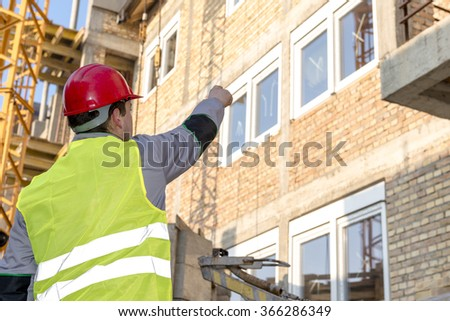 Construction worker at new buildings