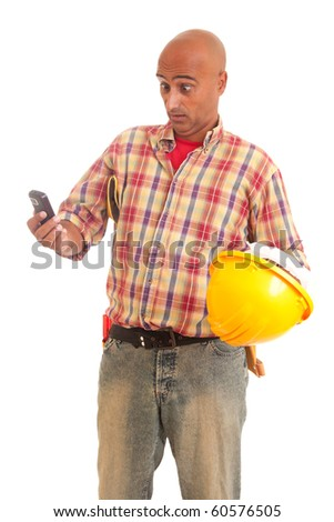 Construction worker at the phone, isolated over white