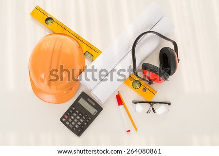 Construction worker attributes, view from above - stock photo