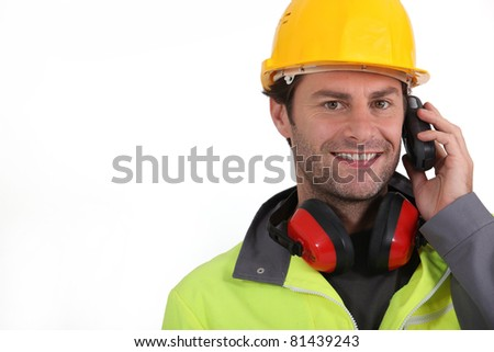 construction worker close-up - stock photo