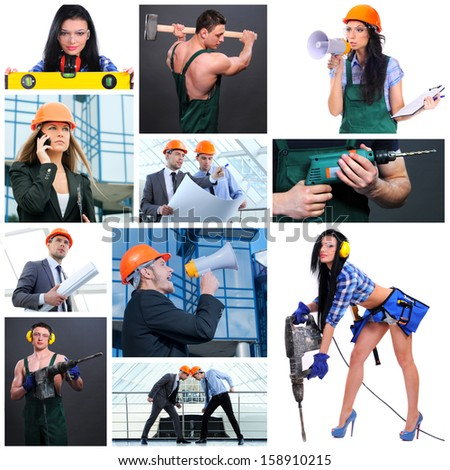 Construction worker. Collage. Workers with equipment on building - stock photo