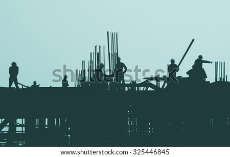 Construction Worker Engineering Built Building Concept - stock photo