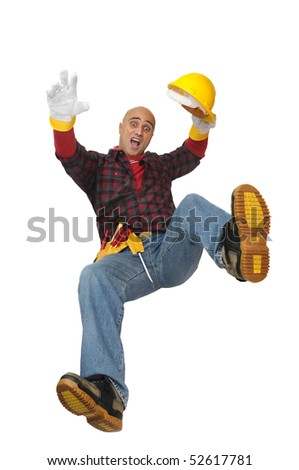 Construction worker falling isolated in white - stock photo
