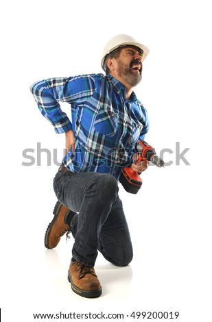 Construction worker getting injured holding a drill isolated on a white background