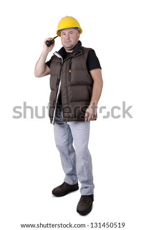 Construction worker hand holding walkie talkie radio, isolated on white.