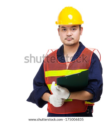 Construction worker holding file pad