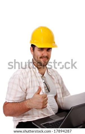 Construction Worker Holding Laptop Thumbs Up Gesture Isolated